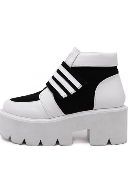 Black White Platforms Ankle Chunky Sole Heels Sneakers Shoes