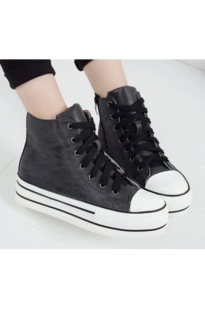 Dark Grey Lace Up Sneakers Platforms Thick Sole Ankle Women Shoes Boots