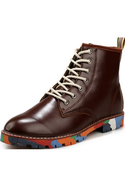 Brown Leather Mens Lace Up Punk Rock Gothic Colorful Sole Military Combat Boots