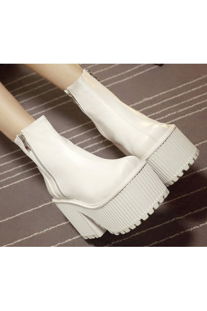 White Leather Zipper Up Gothic Punk Rock Thick Chunky Sole Heels Platforms Boots Shoes