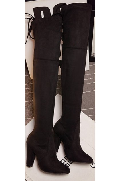 Black Long Knee High Heels Point Head Tied Up Boots Women Shoes