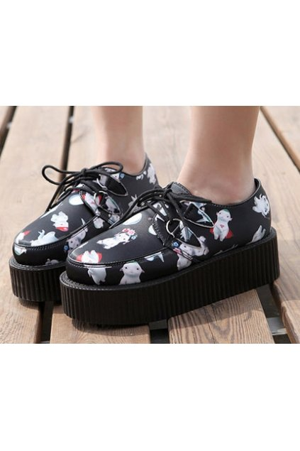 Black Cute Super Sheeps Cartoon Platforms Punk Rock Lace-Up Oxfords Flats Creepers Shoes