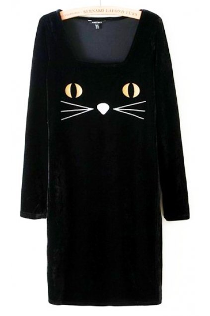 Cat Face Embroidery Velvet Black Long Sleeves Bodycon Dress Skirt
