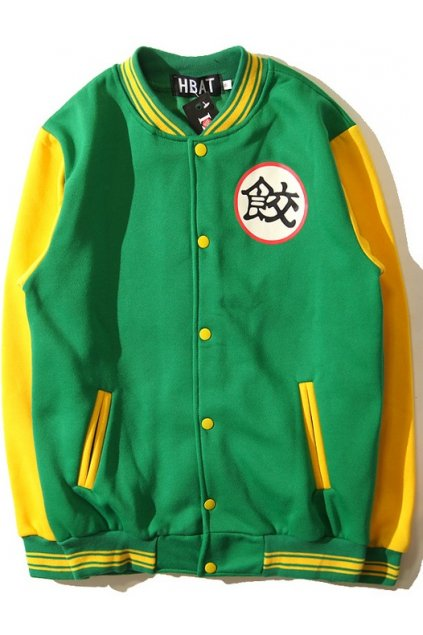 Green Yellow Dragon Ball Chaozu Mens Long Sleeves Baseball