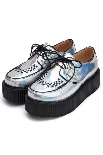 ​Silver Laser Shiny Lace Up Platforms Creepers Oxfords Shoes