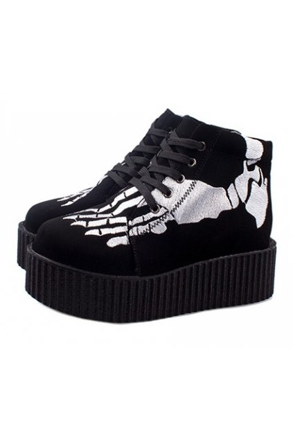 Black High Top White Skeleton Bone Punk Rock Gothic Lace-Up Sneakers Creepers Shoes