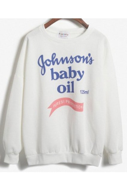 Johnson's Baby Oil White Grey Long Sleeves Sweater Sweatshirt