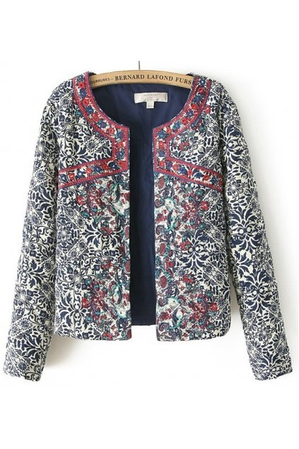 Blue Quilted Embroidery Floral Flowers Tribal Retro Vintage Pattern Long Sleeves Jacket