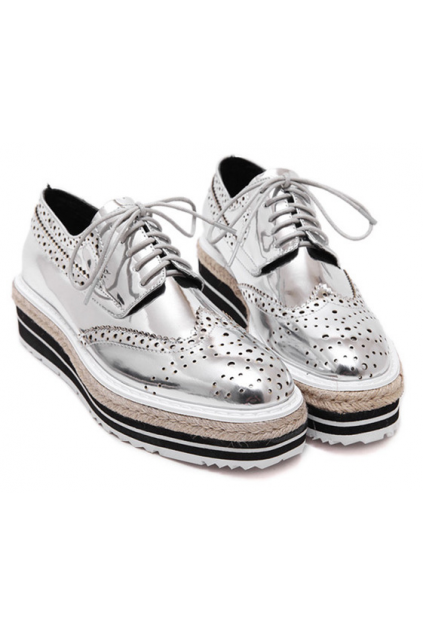 Silver Patent Metallic Shiny Leather Lace Up Baroque Platform Oxfords Shoes Sneakers