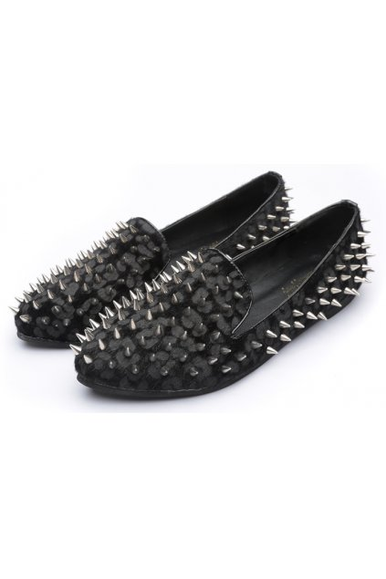 Pony Fur Grey Black Leopard Punk Rock Gothic Spikes Studs Loafers Flats Shoes