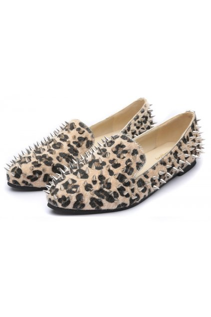 ​Pony Fur Leopard Punk Rock Gothic Spikes Studs Loafers Flats Shoes
