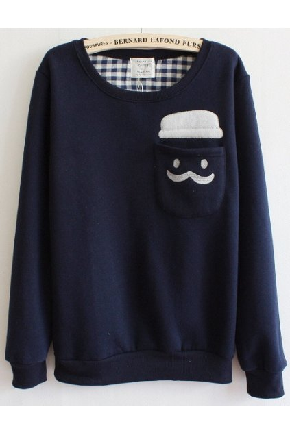 Mustache Hat Man Pocket Navy Blue Long Sleeves Sweater Sweatshirt