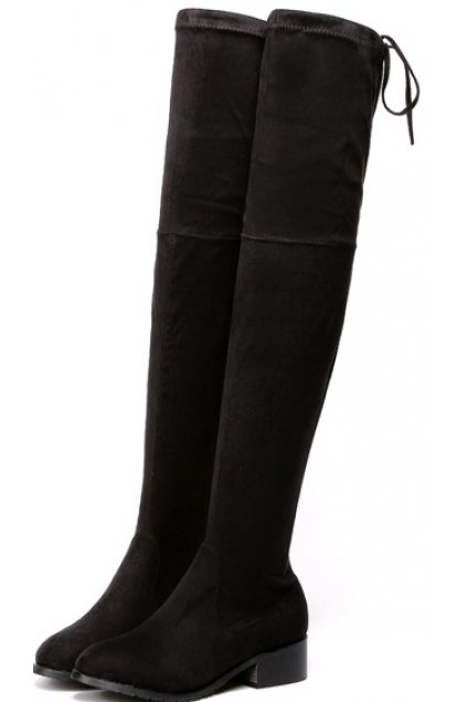 Black Long Knee Point Head Tied Up Boots Women Shoes