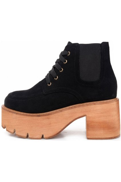 Suede Black Platforms Lace Up Chunky Sole Heels Punk Rock Ankle Boots