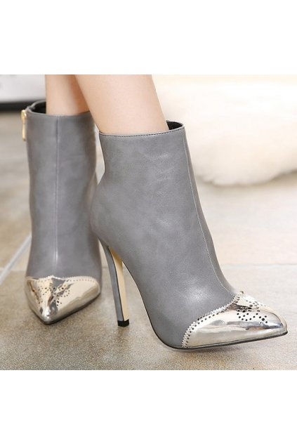 Silver Tip Grey Suede Stiletto High Heels Point Head Ankle Boots Women Shoes