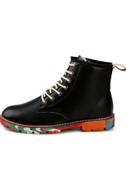 Black Leather Mens Lace Up Punk Rock Gothic Colorful Sole Military Combat Boots