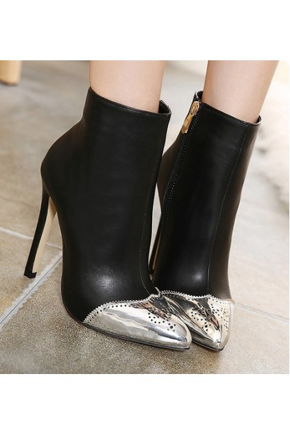 Silver Tip Black Suede Stiletto High Heels Point Head Ankle Boots Women Shoes