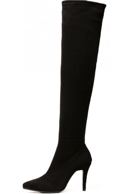 Black Faux Suede Leather Stretchy Over Knee Point Head Long Stiletto Heels Boots Shoes