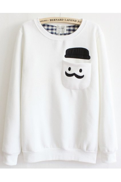​Mustache Hat Man Pocket White Long Sleeves Sweater Sweatshirt
