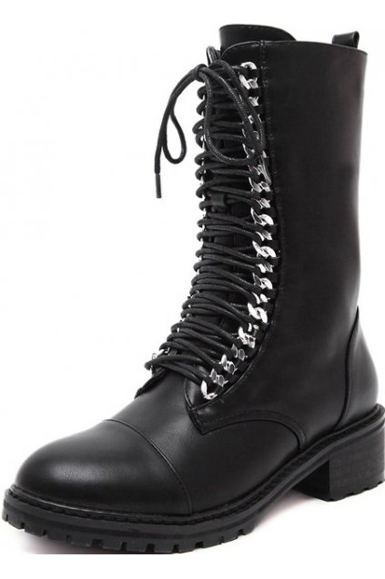 Black Leather Lace Up High Top Gothic Punk Rock Military Combat Boots Women Shoes