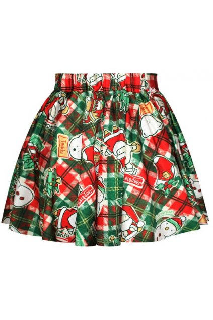 ​GrabMyLook Green Tartan Checkers Santa Claus Polar Bear Xmas Christmas Skater A Line Dress Mini Skirt