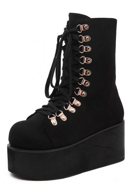 Black Suede Lace Up Platforms Chunky Sole Creepers Punk Rock Grunge Boots Shoes