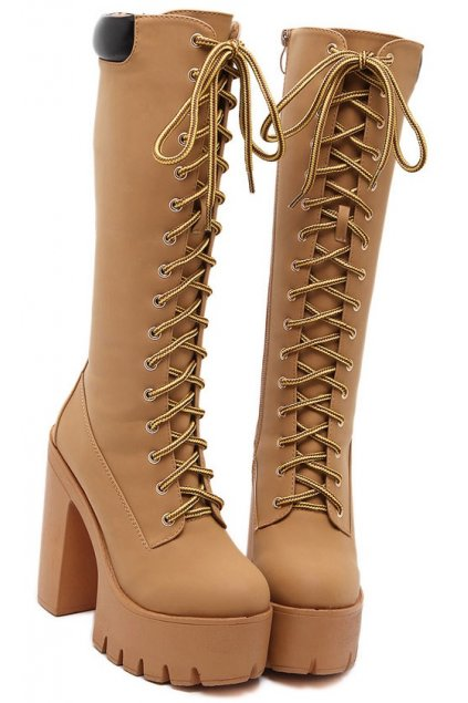 Brown Khaki Lace Up Platforms Chunky Sole High Heels Punk Rock Grunge Knee Boots Shoes