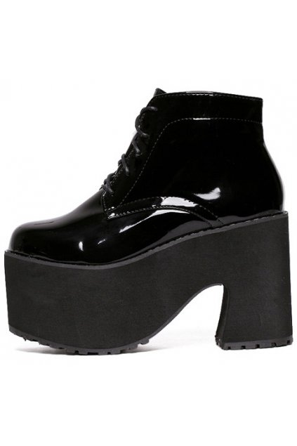 Patent Black Leather Platforms Chunky Sole Heels Lace Up Lolita Gothic Punk Ankle Boots Shoes