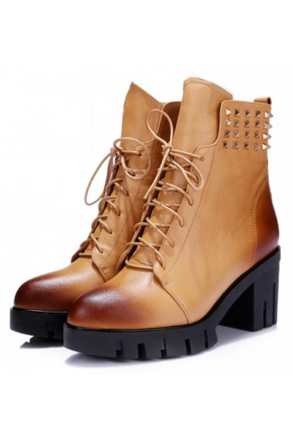 Brown Leather Lace Up Spike Punk Rock Military Chunky Heel Platforms Ankle Boots Shoes