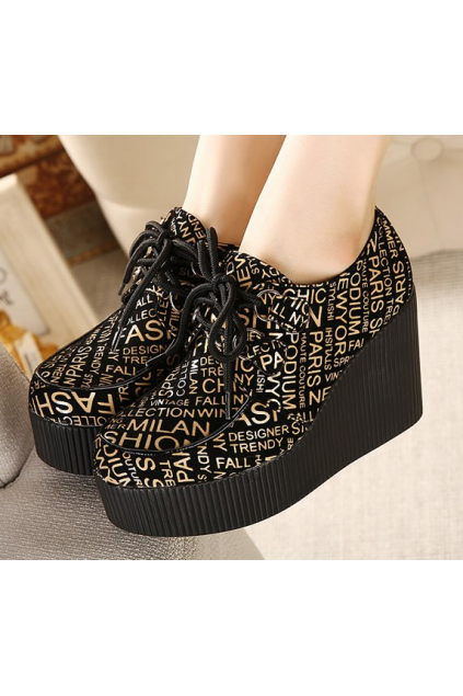 Black Gold Fashion Words Lace Up Creepers Platforms Wedges Gothic Grunge Women Shoes Heels