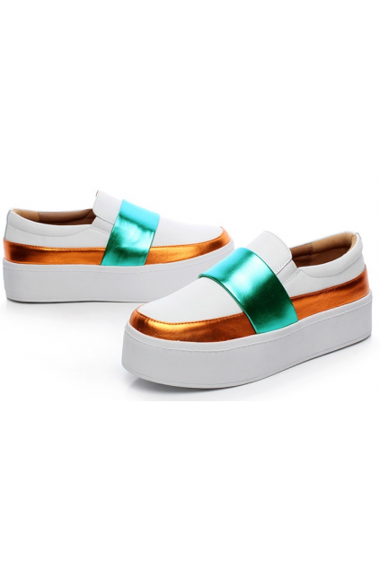 White Green Gold Metallic Leather White Thick Sole Platforms Sneakers Loafers Shoes