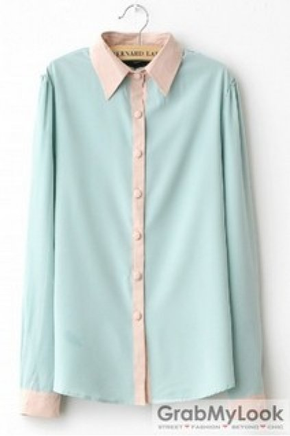 Apparel blouse sweet pastel color long sleeves shirt for Pastel colored men s t shirts