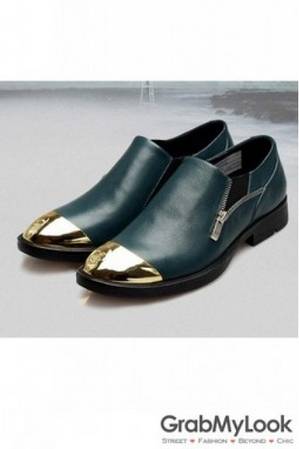 Men S Corner Shoes Loafers Gold Skull Cap Punk