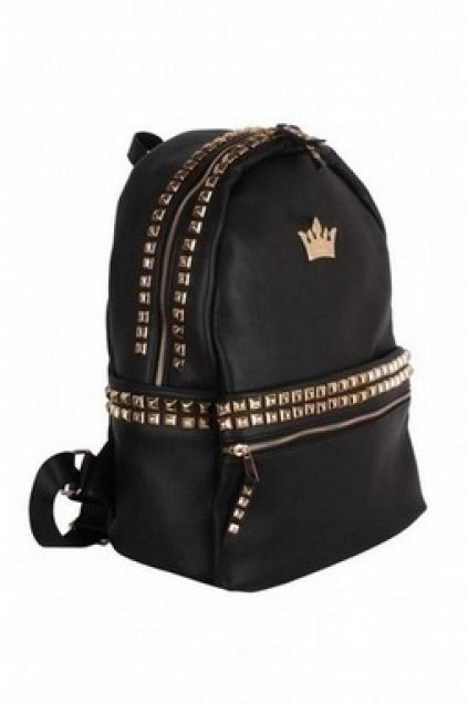 Bags :: Backpack :: Black Gold Metal Crown Emblem Square Studs ...
