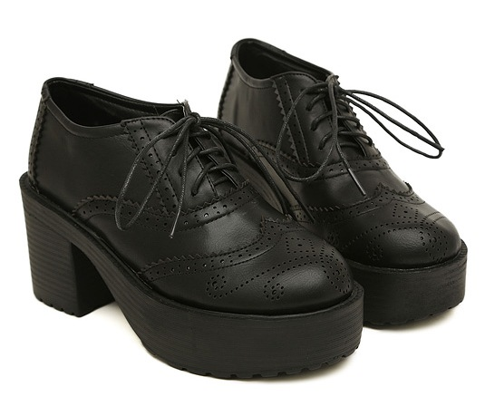 456fe22cec24 Lace Up Black Old School Vintage Platforms Oxfords Chunky Sole Heels Boots  Shoes