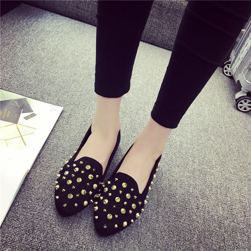 Gold Spike Studs Suede Leather Ballet