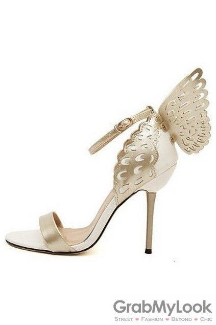 f4b9ba5725a Patent Leather Butterfly White Gold Stiletto High Heels Pump Women Sandals  Shoes
