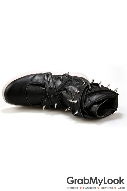 1666523891e Black Stud Multiple Straps Spike Punk Rock High Top Military Style Mens  Boots Shoes