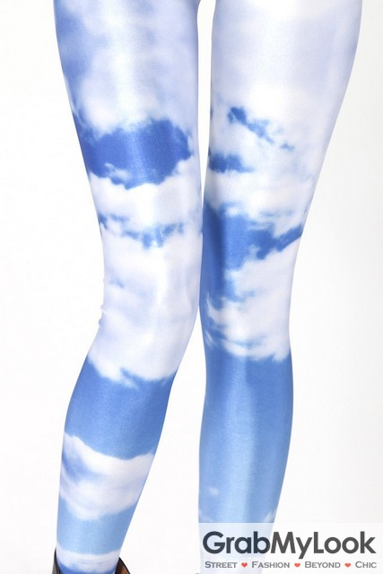 f1c7507497 Blue White Sky Cloud Skinny Long Yoga Pants Tights Leggings
