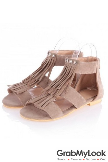 c40939ccd16f Suede Fringes Ankle Straps Bohemian Flats Gladiator Sandals ...