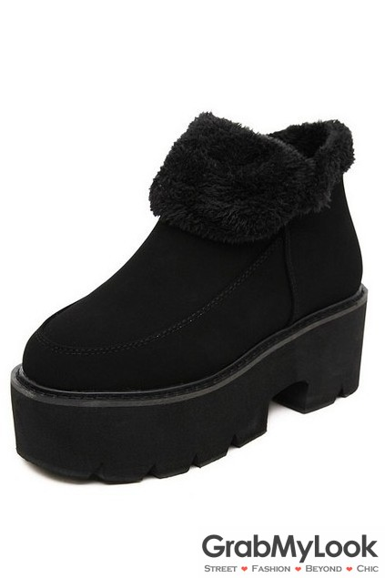 be030313c43 Suede Ankle Woolen Platform Big Heels Chunky Ankle Boots Shoes