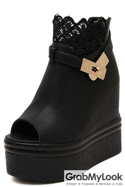 5aaaea17f4e0 Black Open Toe Ankle Lace Gold Buckle Punk Rock Hidden Wedge Gothic  Platform Boot Shoes