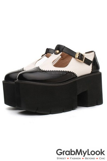 8b8415c2ef5 Faux Leather Vintage Old School T Straps Platform Thick Sole Chunky Oxford  Shoes