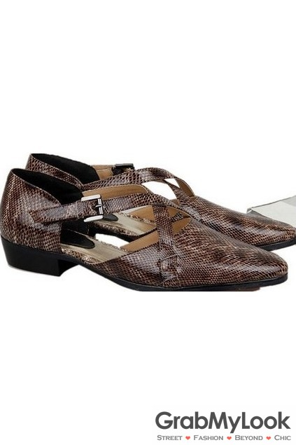 Snake Skin Exotic Brown Leather Point