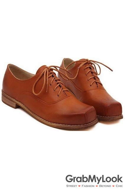 341edb88a6 Vintage Brown Leather Blunt Head Old School Lace Up Oxfords ...
