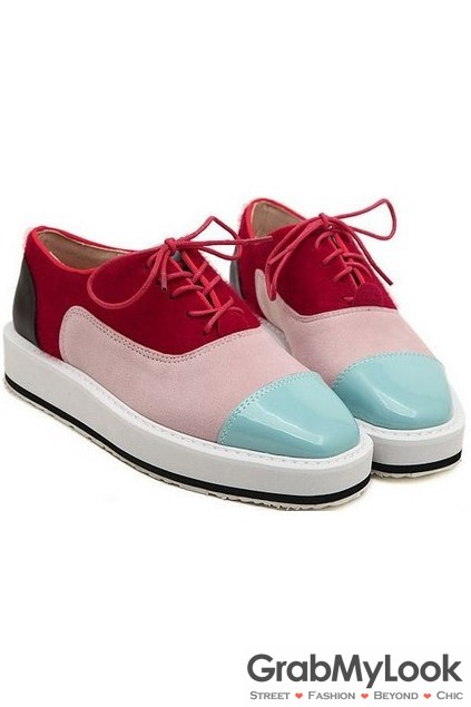 6e46b192911 Red Pink Fancy Colors Lace Up White Thick Platforms Oxfords ...