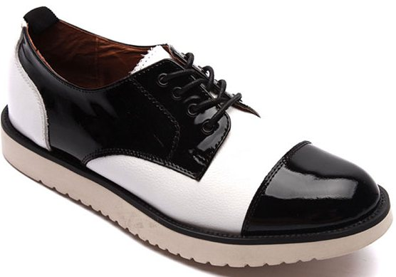 Black White Leather Lace Up White Thick
