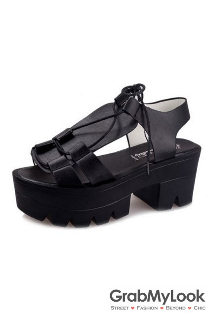 a210fdb8d27b Open Toe Lace Up Black White Leather Thick Platforms Sole Women Gladiator  Sandals Heels