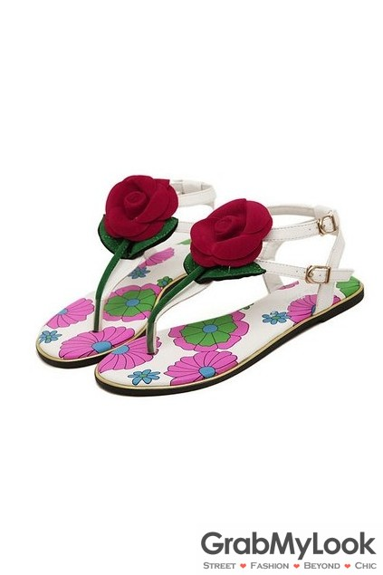 573a7b56c Giant Suede Red Rose Flowers White Flats Flip Flops Beach T Strap Summer  Sandals