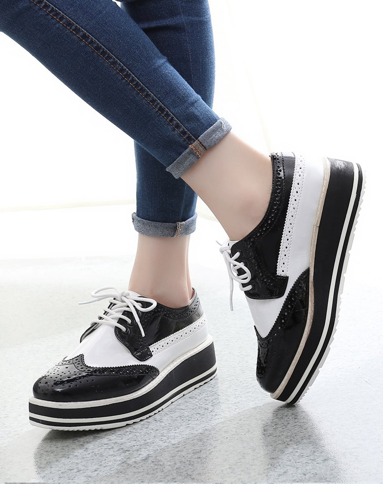 Patent Leather Lace Up Black White